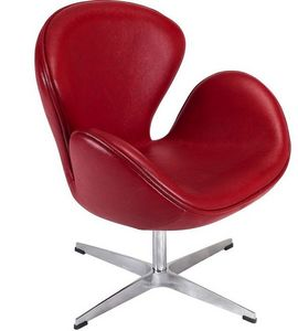 Arne Jacobsen - fauteuil cygne rouge arne jacobsen - Poltrona Girevole