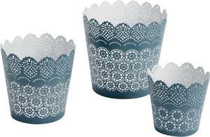 Amadeus - photophores dentelle bleus (lot de 3) - Bicchiere Portacandela