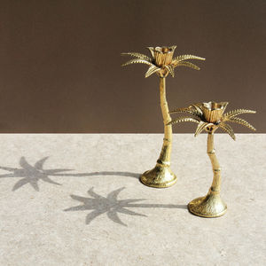 &klevering - palm tree candle holder brass - Portacandela