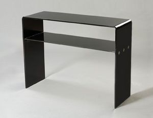 Abode Interiors - black glass shelf console table - Consolle