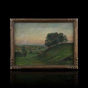 Expertissim - jean-marie camus (1877-1955). collines au crépuscu - Paesaggio
