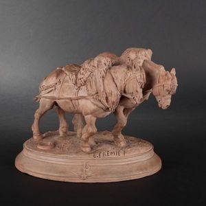 Expertissim - e. fremiet. les chevaux de halage. groupe en terre - Scultura