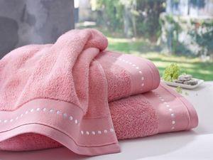 BLANC CERISE - serviette de toilette corail- coton peigné 600 g/m - Asciugamano Grande