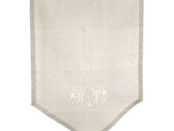 Mathilde M - brise-bise lettres brodées lin naturel 58 x 80cm - Tenda Alla Tirolese