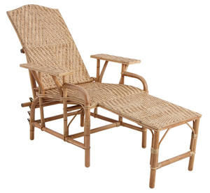 Aubry-Gaspard - chaise longue en manau et lame de rotin 76x175x60c - Lettino Da Giardino