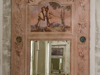 PROVENCE ET FILS - trumeau arte florentin /toile beige veilli et 5 pe - Pannello Decorativo