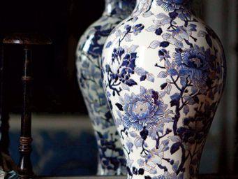 GIEN - pivoines bleues - Vaso Di Porcellana
