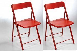 WHITE LABEL - lot de 2 chaises pliantes kully en plastique rouge - Sedia Pieghevole