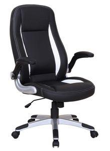 WHITE LABEL - chaise de bureau design noir et blanc - Sedia Ufficio