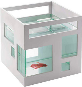 Umbra - aquarium blanc design hôtel 19x19x20cm - Acquario