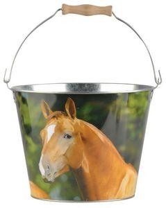 Esschert Design - seau cheval en zinc et bois cheval - Secchio