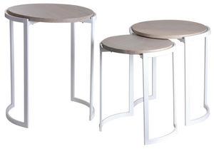 Aubry-Gaspard - sellettes en métal blanc et manguier (lot de 3) - Tavolini Sovrapponibili