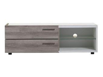 WHITE LABEL - meuble tv 2 tiroirs 2 niches - irys - l 130 x l 46 - Mobile Tv & Hifi