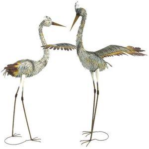CHEMIN DE CAMPAGNE - statue sculpture héron oiseau couple de hérons en  - Ornamento Da Giardino