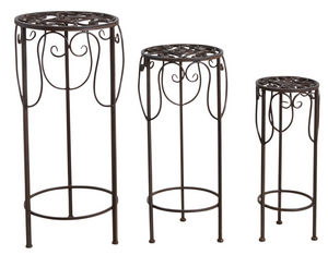 Aubry-Gaspard - sellettes rondes en métal vieilli (lot de 3) - Trespolo