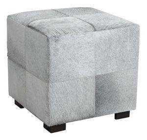Aubry-Gaspard - pouf cube en peau de vache grise - Pouf