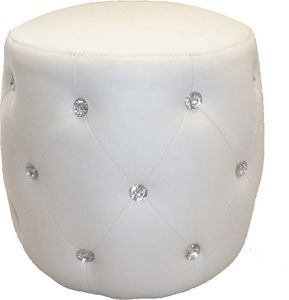 WHITE LABEL - pouf simili cuir capitonné strass - Pouf