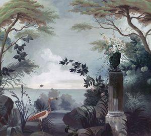 Ananbô - le jardin au flamant rose - Carta Da Parati Panoramica