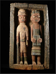 Arts Africains - panneau bas relief colons - Bassorilievo