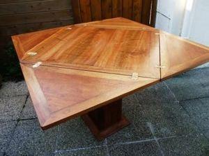 La Timonerie Antiquités marine - table de carre porte feuille salle à manger - Tavolo A Portafoglio