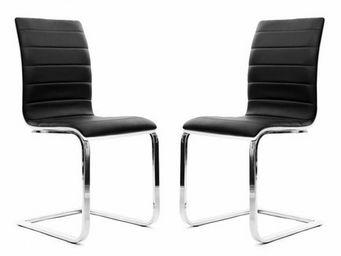 Miliboo - lot de 2 chaises noires et blanches saddie - Sedia
