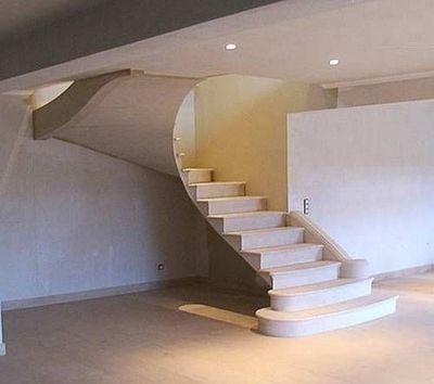 Atelier Alain Edouard Bidal - Scala girevole due quarti-Atelier Alain Edouard Bidal-BA28 Escalier en Pierre de Lens